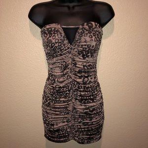 Forever 21 Leopard Ruched Tube Dress